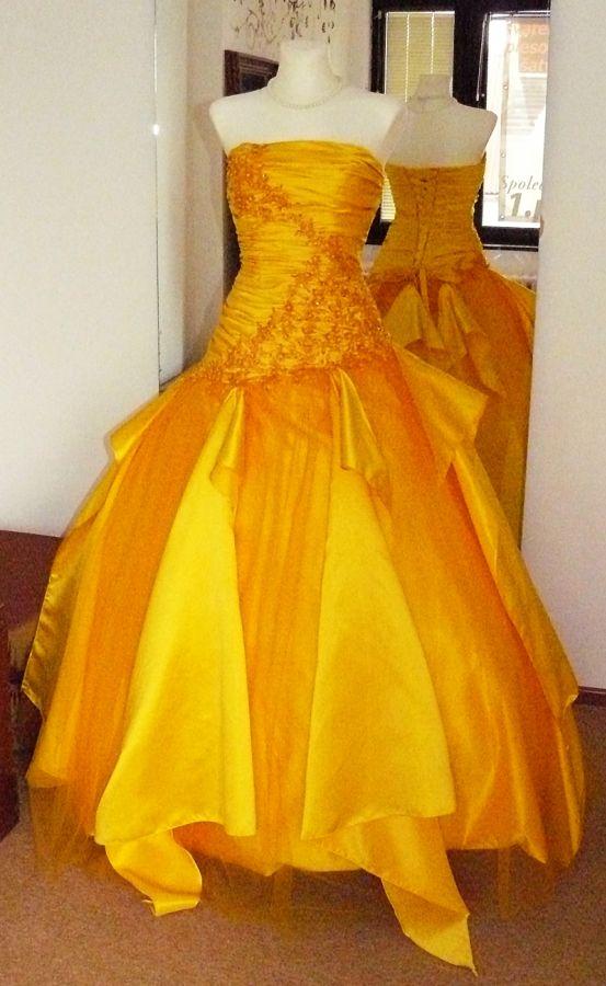 5bcb8cece1f plesové šaty kolekce Yvettey žluté - plesové šaty